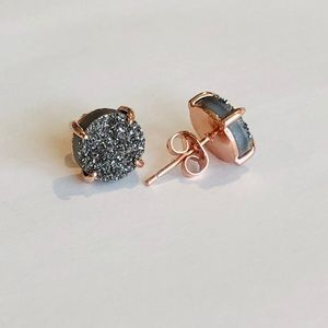 Jewelry - Gray Drusy & 18k Rose Gold Round Stud Earrings